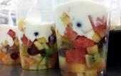 Breakfast fruit salad with yoghurt