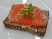 Smoked salmon on rye with basil cream cheese