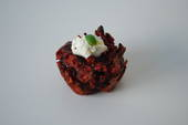 Beetroot and goats cheese fritter
