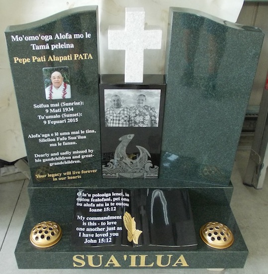 A SPECIAL FISH HOOK ARTWORK ETCHED INTO BLACK GRANITE ON CUSTOM DESIGN HEADSTONE WITH FORREST GREEN GRANITE AND WHITE PEARL GRANITE CROSS