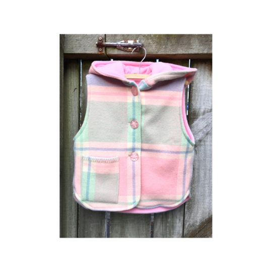Button Up Vest with Hood  Size 4