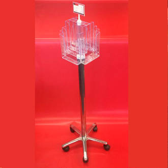 A5x8 Floor Stand Revolving Brochure Holder with castors