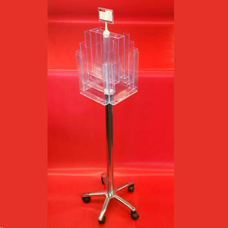 A4x8 Floor Stand Revolving Brochure Holder with castors