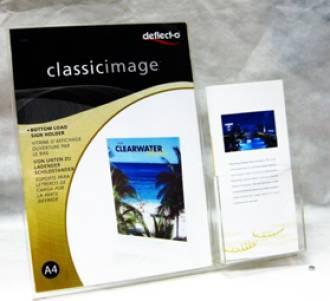 (599401) Slanted Sign Holder, A4, Portrait, with DLE Brochure Holder Beside
