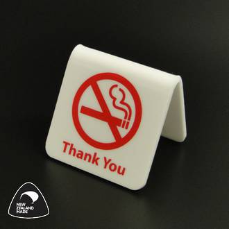 White/Red No Smoking Table Signs