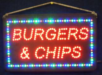 (LED-SIGN-14) LED Flashing BURGERS & CHIPS Sign