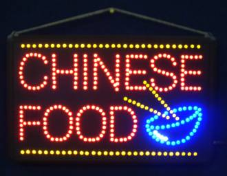 (LED-SIGN-16) LED Flashing CHINESE FOOD Sign