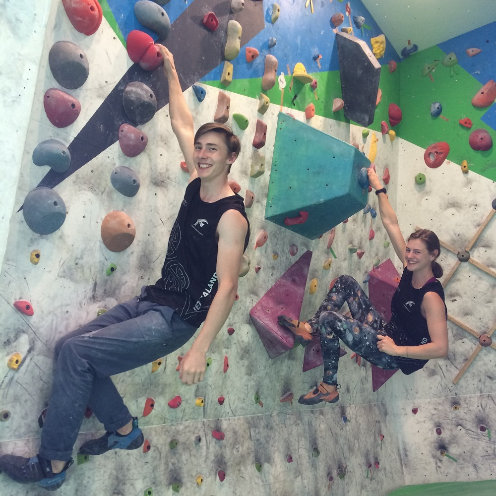 George Sanders and Sarah Tetzlaff on the climbing wall
