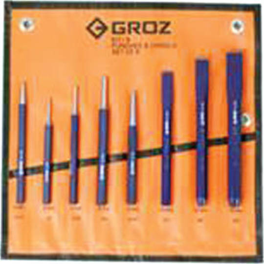 PUNCH & CHISEL SET 8pc GROZ
