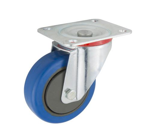 CASTOR 100mm BLUE RUBBER SWIVEL