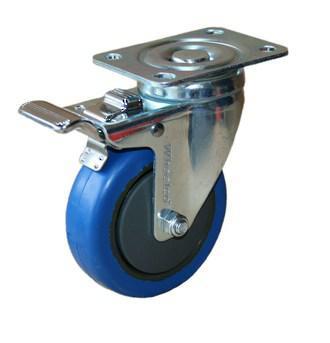 CASTOR 100mm BLUE RUBBER SWIVEL BRAKED