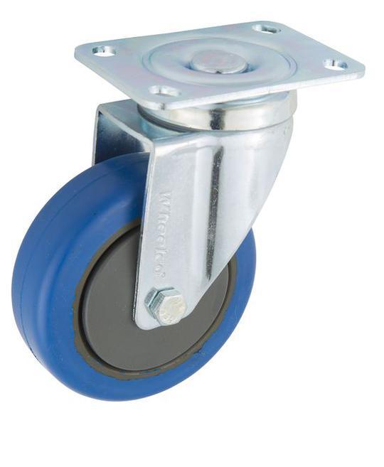 CASTOR 125mm BLUE RUBBER SWIVEL