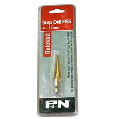 DRILL STEP 4 - 12mm HSS 1/4 HEX SHANK P&