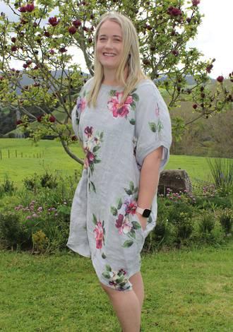 Adeline Grey Linen Top / Dress Large
