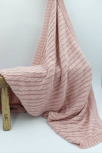 Baby Cable Blanket Pink