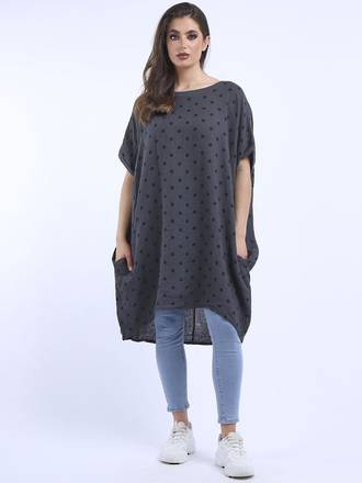 Bianca Linen Spotted Dress Charcoal