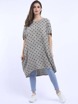 Bianca Linen Spotted Dress Mocha