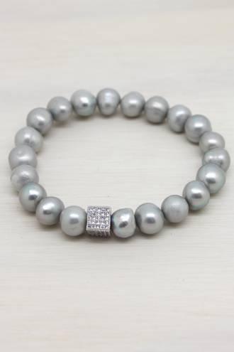 Cube Grey Pearl Bracelet