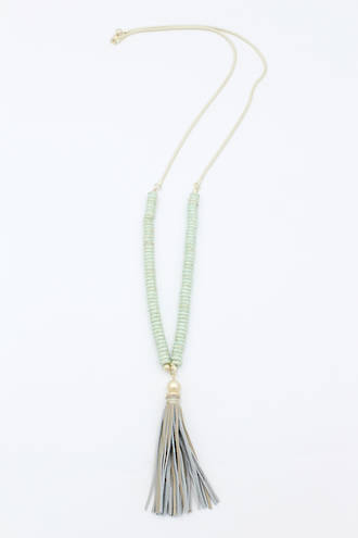 Minty Tassel Necklace