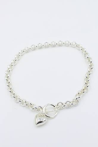 Annabelle Fob Heart Necklace Silver