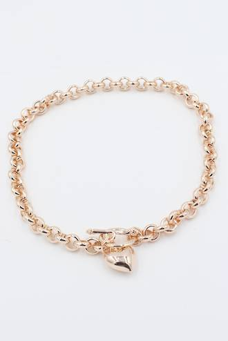 Annabelle Fob Heart Necklace Rose Gold