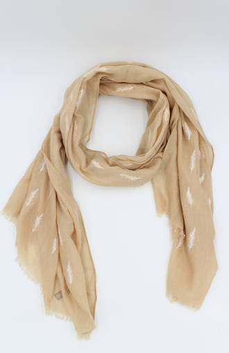 Floating Feather Scarf Tan