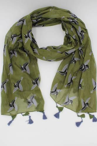 Hummingbird Olive Scarf