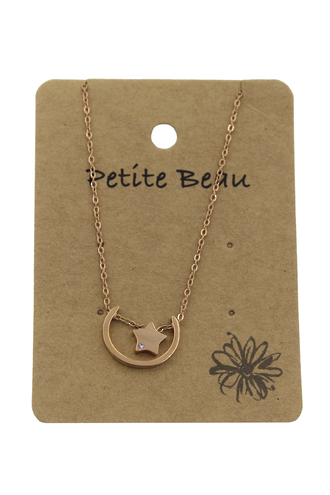 Petite Beau Stainless Steel Moonbeam Necklace