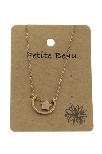 Petite Beau Stainless Steel Moonbeam Necklace