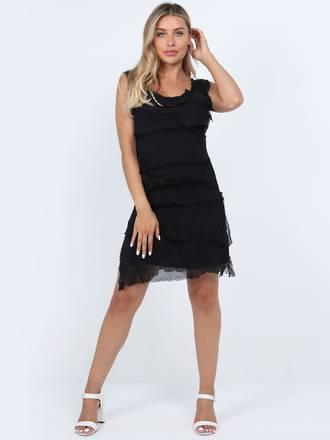 Colette Silk Tiered Short Dress Black