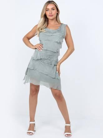 Colette Silk Tiered Short Dress Khaki
