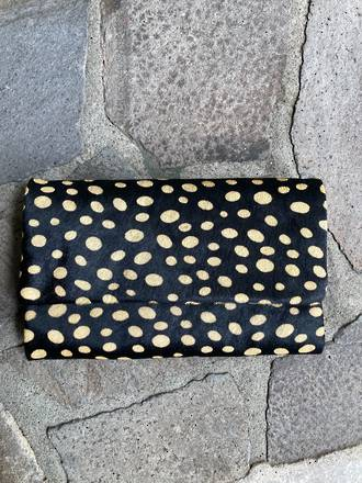Leopard Leather Wallet Black