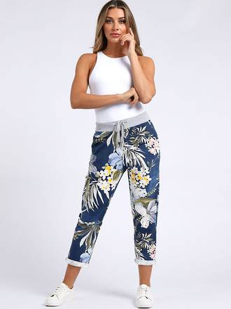 Denver Tropical Dark Blue Trousers (Size14-18)