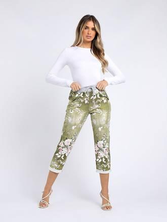 Denver Floral Olive Trousers Size 12-14