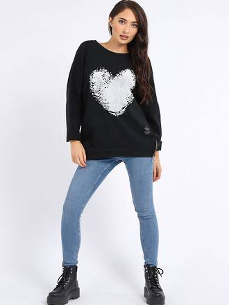 Finger Print Cotton Heart Sweater Black