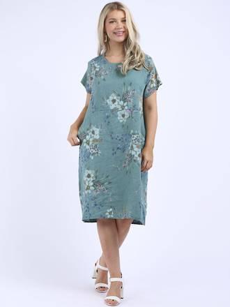 Fleur Classic Linen Dress Spearmint