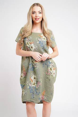 Fleur Linen Dress Khaki