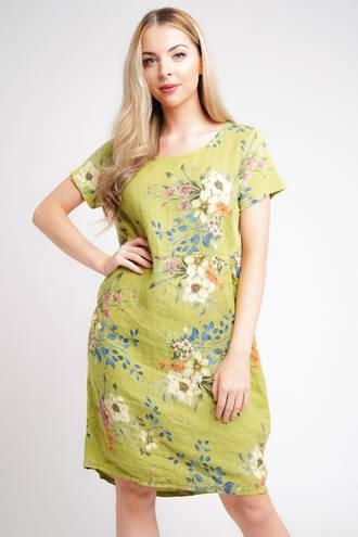 Fleur Classic Linen Dress Lime