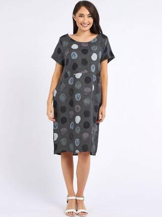 Fleur Linen Dress Spotted Charcoal