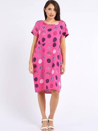 Fleur Linen Dress Spotted Fuchsia