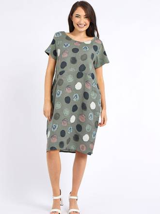 Fleur Linen Dress Spotted Khaki