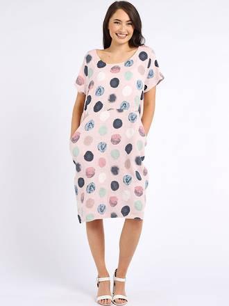 Fleur Linen Dress Spotted Pale Pink