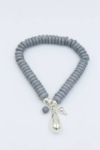 Grey Teardrop Bracelet