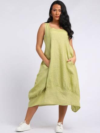 Gabriella Linen Dress Lime