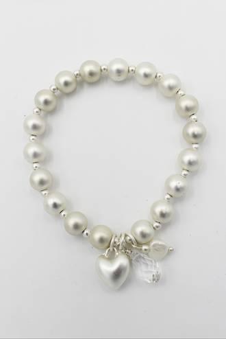 Baylee Pearl Heart Bracelet Silver