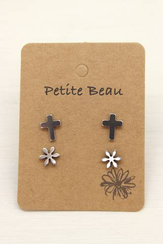 Petite Beau Stainless Steel Cross/ Daisy Earrings