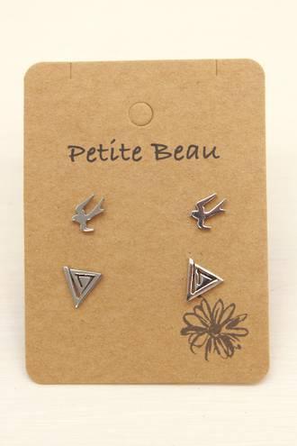 Petite Beau Stainless Steel Bird/Maze Earrings