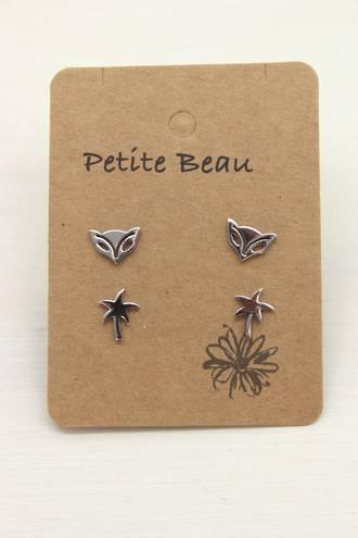 Petite Beau Stainless Steel Palm/ Fox Earrings