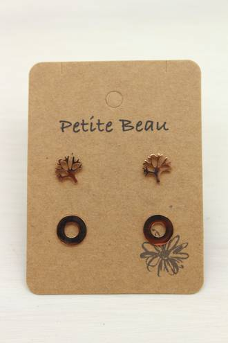 Petite Beau Tree/ Circle Earrings