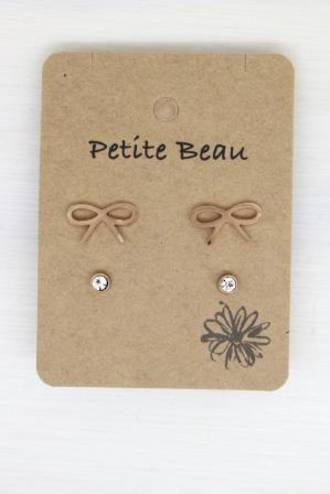 Petite Beau Bow / Diamond Earrings